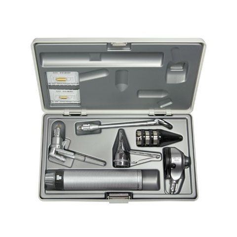 Otoscopio diagnóstico K-100, 3 espéculos, portaespátulas de madera, estuche rígido 2,5 v.
