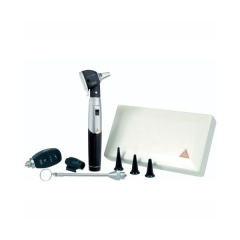 Mini-set 3000 con otoscopio y oftalmoscopio, lámpara combinable, espejo laringeo y estuche rígido