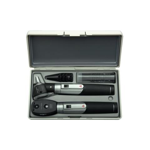 Mini-set 3000 con otoscopio FO y oftalmoscopio, con 2 mangos a pilas, en estuche rígido