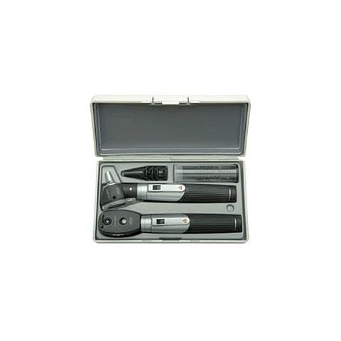 Mini-set 3000 con otoscopio y oftalmoscopio, con 2 mangos a pilas, en estuche rígido
