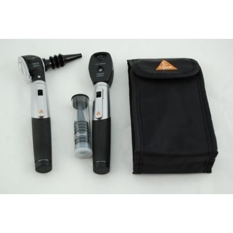 Mini-set 3000 con otoscopio FO y oftalmoscopio, con 2 mangos a pilas, en estuche blando