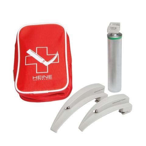 Equipo laringoscopio emergencia luz fria con 2 espátulas Mac2 y 3, en bolsa de cremallera