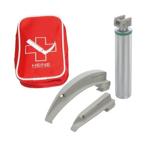 Equipo laringoscopio emergencia luz fria con 2 espátulas Paed1 y Mac3, en bolsa de cremallera
