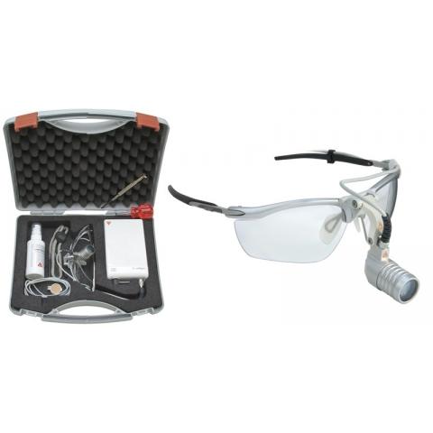 Lámpara frontal LED MicroLight con S-Frame y mPack LL y transformador de enchufe, en maletín