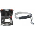 Lámpara frontal LED MicroLight en cinta craneal Lightweight y mPack LL y transformador de enchufe, en maletín
