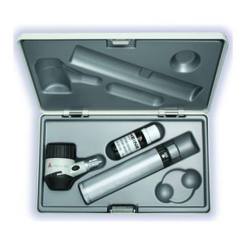 Dermatoscopio DELTA 20 con mango recargable 3,5 v, disco de contacto con escala, aceite 10 ml. estuche rígido y cargador NT 300