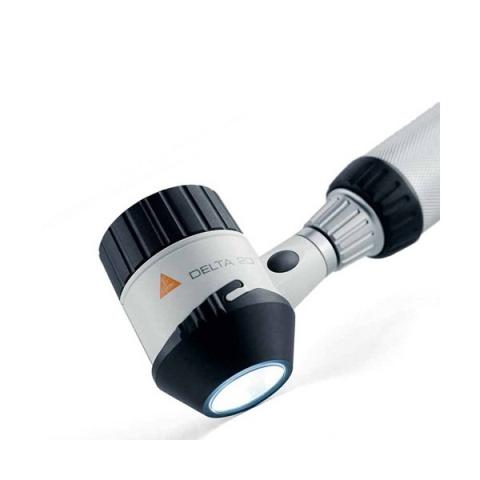 Dermatoscopio DELTA 20 Plus con disco contacto polarización P c/escala, mango recargable 3,5 v estuche rígido