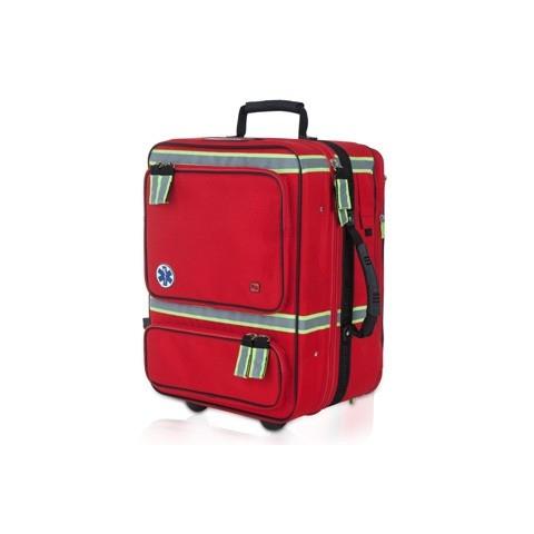 Maletín emergencias respiratorias poliamida rojo, con carro-trolley, modelo EMERAIR'S