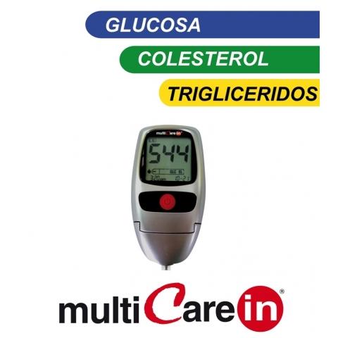 multiCare-in, 3 en 1, medidor de glucosa, colesterol y triglicéridos