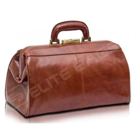 Maletín médico compacto, piel marrón. Modelo CLASSY'S.