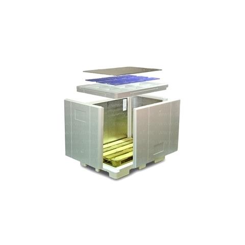 Palet aislado de poliestireno expandido EPS VIP Pallet Shipper 1200L Standard con tapa con acumulador