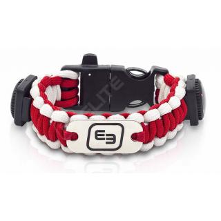 WRIST'S, brazalete de supervivencia fluorescente, paracord. Rojo y blanco.